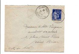 PAIX SUR LETTRE DE HERBIGNAC LOIRE INFERIEURE 1938 - 1921-1960: Période Moderne
