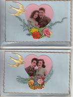 Cartes Anciennes Fantaisies - Amour - Couples - Série De 8 Cartes Luxe - Couples