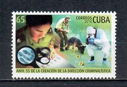 2018 The 55th Anniversary Of Cuban Criminalistics  (MNH)  - Police, Dogs - Cuba