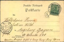 """1904, Ansichtskarte """"Chinesische Kinder In Winterkleidung"""" Mit 5 Pfg. Germania """"China"""" Ab TIENTSIN Nach Ausgburg - Offices: China"""