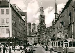 Ansichtskarte München Marienplatz, Mercedes Benz Straßenbahn 1965 - Muenchen