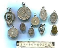 Lot De 10 Médailles Religieuses Vierge Et Sacré-coeur - Non Classificati