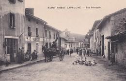 SAINT PRIEST LA PRUGNE       RUE PRINCIPALE    ATTELAGE MULET   DEVANR   AUBERGE PRAS - France