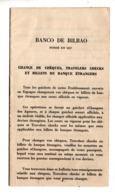 BANCO DE BILBAO . CHANGE DE CHÈQUES, TRAVELERS CHECKS ET BILLETS DE BANQUES ÉTRANGERS - Réf. N°10119 - - Chèques & Chèques De Voyage