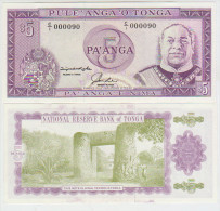 Tonga 5 Paanga 1992 Pick 27 UNC - Tonga