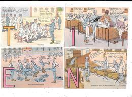 11441 - Lot De 5 CPA Humoristique Militaire, Alphabet Du Soldat, Lettre E I T N P - Humour