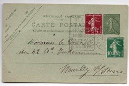 ENTIER POSTAL  SEMEUSE LIGNEE 15c  VERT AVEC 2 TIMBRES SEMEUSE  ADRESSE A NEUILLY SUR SEINE  ENTIER POSTAL - Postal Stamped Stationery