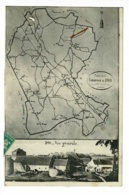 """Dyo - Montage Vue Générale Et Plan De La Commune - Circ 1914, Tampon """"A. Nigay"""" Instituteur à Dyo Habitant à La Gare - France"""