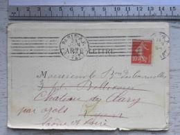 Carte Lettre Avec 4 Cartes - Chemin De Fer  - Bretagne Touraine - 1911 ? - Trains