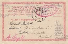 Entier Postal De STOCKHOLM Du 3.06.1915 Adressé Au Lieutenant Harbath, Prisonnier Au Camp De Antipicha, Près De TSCHITA - Postmark Collection (Covers)