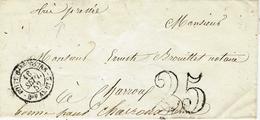 """1852- Enveloppe Cad BOITE Gare TOURS / Bau AMBT 2  + Taxe 25 Dt  -au Dos """" Fausse Direction """" - 1849-1876: Klassik"""
