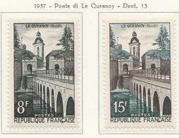 PIA - FRA - 1957 : Ponte Do Lequesnoy - (Yv 1105-06) - Francia