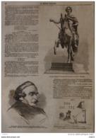 M. Le Comte Mamiani, Ministre à Turin - La Statue équestre De Napoléon III - Page Original 1860 - Historical Documents
