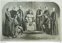 Le Pape Pie IX - Mgr Marsigli - Mgr Ricci - Mgr Stella - Mgr Pacca - Mgr Cenni Papst Pius IX - Page Original Double 1860 - Historical Documents