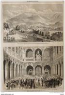 Napoléon III -inauguration De La Nouvelle Bourse De Lyon Par Leurs Majestés - Vue De Chambery - Page Original 1860 - Historical Documents
