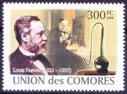 Comoros 2008 MNH, Louis Pasteur, Medicine, Microbiologist Vaccination Discoveries - Premio Nobel