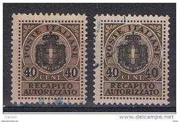 LUOGOTENENZA:  1945  RECAPITO  AUTORIZZATO  SOPRAST. -  40 C./10 C. BRUNO  US. -  RIPETUTO  2  VOLTE  -  SASS. 5 - 5. 1944-46 Lieutenance & Umberto II