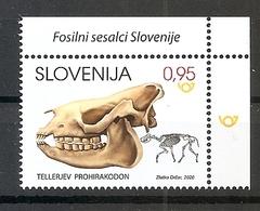 SLOVENIA 2020,,FOSSIL MAMMALAS IN SLOVENIA,PROHIRACODON TELLERI,MNH - Fossils