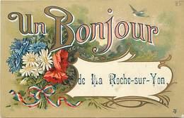 - Dpts Div.-ref-AR782- Vendée - La Roche Sur Yon - Un Bonjour De.. - Souvenir De .. - Fleurs Et Ruban Tricolore - - La Roche Sur Yon