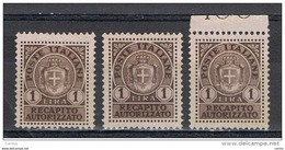 LUOGOTENENZA:  1946  RECAPITO  AUTORIZZATO  -  £. 1  BRUNO  S.G. -  RIPETUTO  3  VOLTE  -  SASS. 7 - 5. 1944-46 Lieutenance & Umberto II
