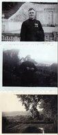 3 Photos Authentiques -  BELLEME  (61)  Mr Le Chanoine - Mr Le Doyen Le Jour De Sa Décoration - Jardin Du Presbytère. - Orte
