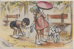 CPA GERMAINE BOURET IDA 593 JEUNE FILLE AU PARAPLUIE AJOUTIS  PAILLETTES - Bouret, Germaine