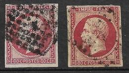 France    N° *  17A   Et  17A1  Carmin Foncé  Oblitérés    B/ TB    Soldé  à Moins De 10 %     ! ! ! - 1853-1860 Napoléon III