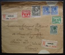 Nederland (Pays Bas) 1938 Lettre Recommandée De Haarlem N°557 Et 558 Pour Paris Puis Dives Sur Mer Calvados, France - Periodo 1891 – 1948 (Wilhelmina)