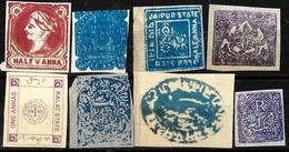 123 -  INDIA - PRINCELY STATES - 1870-90 - SMALL SELECTION OF FORGERIES, FALSES, FALSCHEN, FAKES, FALSOS - Sammlungen (ohne Album)
