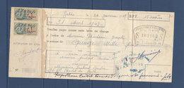 TUNISIE QUITTANCE AVEC FISCAUX - Tunisia (1888-1955)