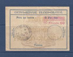 TUNISIE COUPON INTERNATIONAL SURCHARGE 10FRS/8FRS50 VERSO MAJORE DE 50/10 PLI VERTICAL - Tunisia (1888-1955)