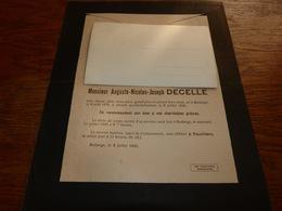 Lettre De Mort Auguste Decelle Nezer Malget Bodange 1876 1945 - Décès