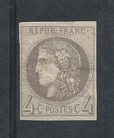 Timbre N°41 - 4 Cts Gris - Oblitéré - Gomme Abîmée - 1870 Ausgabe Bordeaux