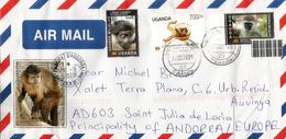 Belle Lettre De Kampala 2020 (L'Hoest's Monkey,etc) Adressée Andorra, Avec Timbre à Date Arrivée - Uganda (1962-...)