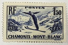 YT 334 (*) MH 1937 Championnats De Ski à Chamonix (côte 7,65 Euros)  – Bleu2 - Nuevos