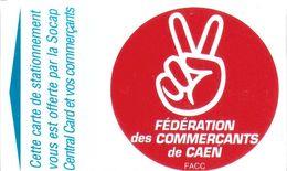 CARTE STATIONNEMENT BANDE MAGNÉTIQUE VILLE DE CAEN 14 CALVADOS FÉDÉRATION COMMERÇANTS - Francia