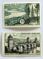 YT 1118 Et 1119 (*) MH 1957 Région Bordelaise Et Pont Valentré Cahors (16 Euros) – Bleu2 - Nuevos