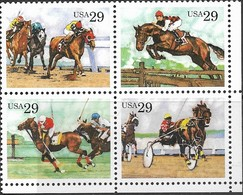 US  1993  Sc#2759a  29c Horses Block Of 4 MNH  Face $1.16 - United States