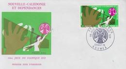 Enveloppe   FDC  1er   Jour   NOUVELLE   CALEDONIE    VOLLEY - BALL   5éme  Jeux   Du  Pacifique  Sud    1975 - Pallavolo