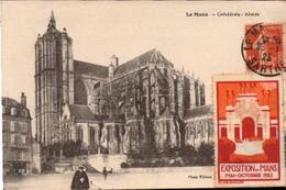 LE MANS. Cpa.   Cathédrale - Abside. (vignette Expo 1923).   (scans Recto-verso) - Le Mans