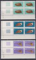 Madagascar N° 477 / 79 XX Coquillages Divers, Les 3 Valeurs En Bloc De 4 Coin Daté, Sans Charnière, TB - Madagascar (1960-...)