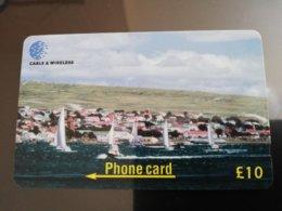 FALKLAND ISLANDS   10 Pound Yacht Race Serie 314CFKD New  Logo C&W **153** - Islas Malvinas