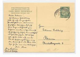 DR GA Privat Ganzsache Festpostkarte 1933 Carl Benz Denkmal Bahnpost Lübben Beeskow - Allemagne