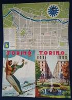 """01463 """"TORINO - ENTE PROVINCIALE PER IL TURISMO - CARTINA DELLA PROVINCIA - 1948"""" SCIATORI - FIRMATO. ORIGINALE - Tourism Brochures"""