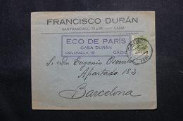 ESPAGNE - Enveloppe  Commerciale De Cadix Pour Barcelone En 1925, Affranchissement Plaisant - L 55121 - Briefe U. Dokumente