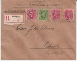 SCHWEDEN REKOMMENDERAS 19/05/1911 JÖNKÖPING NACH LÜBECK - Suecia