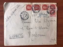 Lettre Petain Numero 517 Express Velo Tarif à 7 Francs 50 Expres Le 12- Juin 1944 - Storia Postale