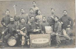 40 MONT DE MARSAN MILITARIA CARTE PHOTO MILITAIRES SAPEURS 1909 - Mont De Marsan