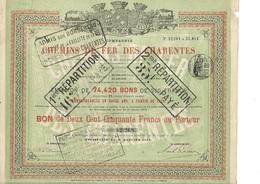 COMPAGNIE DES CHEMINS DE FER DES CHARENTES - BON DE 250 FRS - ANNEE 1873 - Chemin De Fer & Tramway