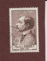 1070 De 1956 - Oblitéré - Maurice Barrès . Célébrité Du XIè Au XXè Siècles - Voir Les 2 Scannes - France